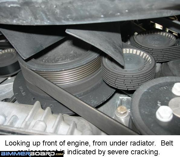 belt replacement instructions (incl fan removal) bmw e53 belt diagram belt tensioner pulley v ribbed idler