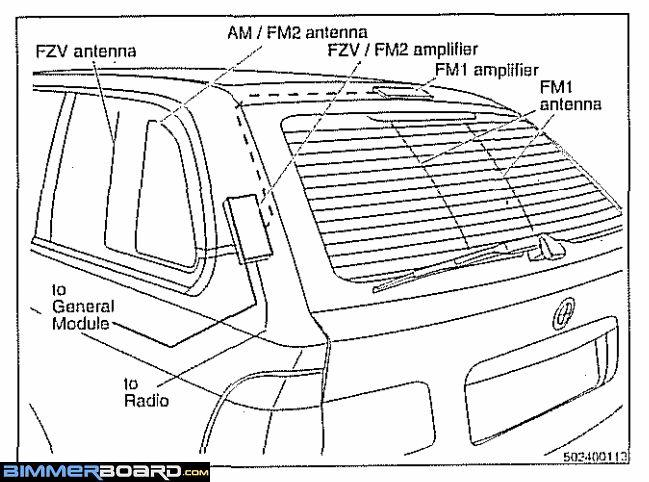 BMW E39 Touring FZV FM AM Antennas and Amps location bmw x5 e53 antenna amplifier ( 6 906 070 ) connections bmw e53 amplifier wiring diagram at cos-gaming.co