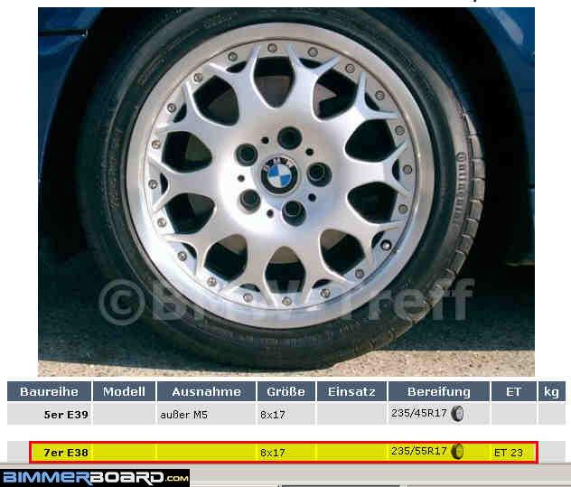 Bmw Offered Two 17 Wheels For The E38 With 2355517 Tires Style