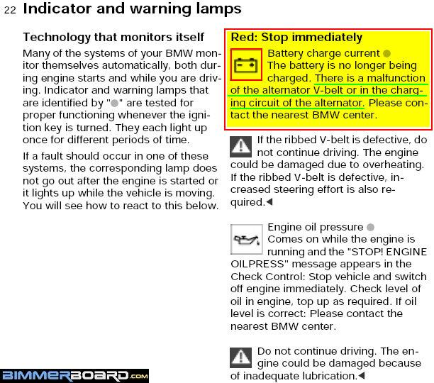 Red Battery Light Thoughts Bimmerfest BMW Forums - Bmw e90 warning signs