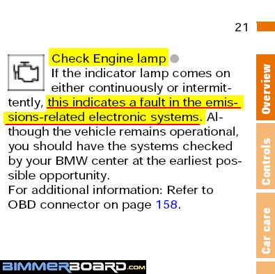Check engine light bimmerfest bmw forums the left column at e38e39 if your model year is not listeden download the manual that is closest to your model yearyou wont miss a publicscrutiny Gallery