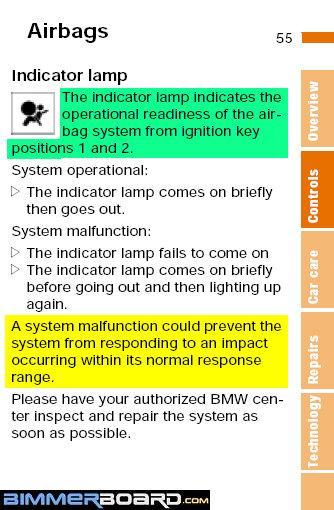 E39 - airbag light on - Bimmerfest - BMW Forums