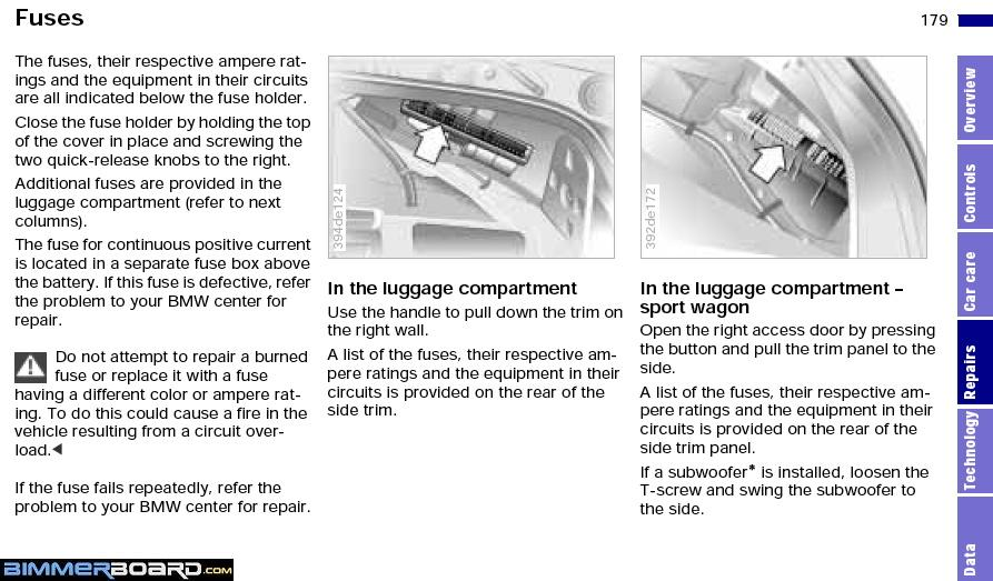 E39 Trunk Fuse Location Owners Manual need help with location of the fuse boxs and overview of fuse 2007 bmw fuse diagram at crackthecode.co