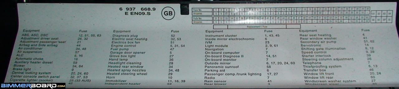 E53 X5 Glove box Fuse Index Diagram cigarette lighters not working bimmerfest bmw forums 2011 BMW 740I Rear at gsmportal.co