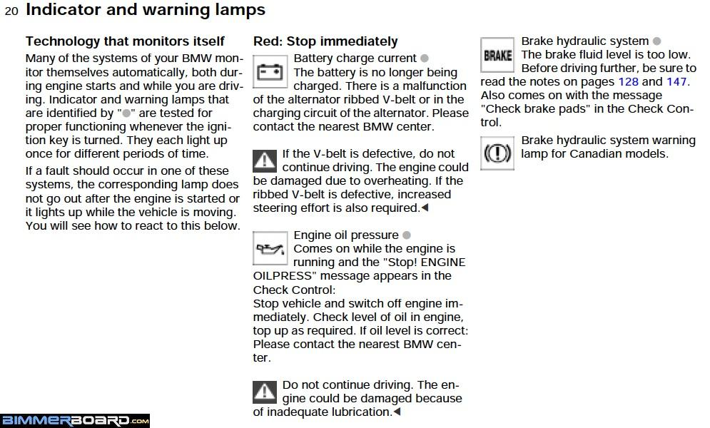 ...and The Page Below Explains The YELLOW Brake Warning Light...with  Instructions To Check Page 127. The Asterisk { * } In The Heading Means  That It May Be ...