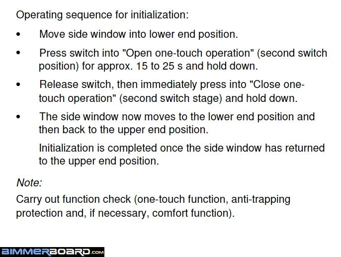 Reinitializing Instructions Power Window Auto Up Auto Down e39 passenger window won't go up auto bimmerfest bmw forums  at n-0.co