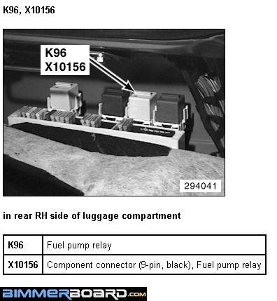 Location of E38 Fuel Pump Relay